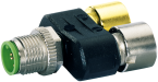 T-coupler SlimLine M12-male 5p./ 2x M12-female 3p.