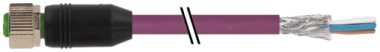 M12 female 0° with cable DeviceNet